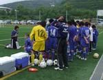 吉野川の試合前のミーティング