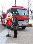 消防車とマスコット