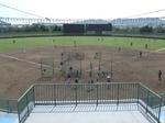 野球場のネット裏からの眺め