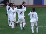 優勝を喜ぶ加古川の選手たち