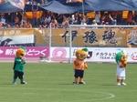 ピッチに登場した愛媛FCのマスコットたち