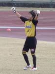 PK成功で勝利を決めて喜ぶ藤枝GK豊瀬